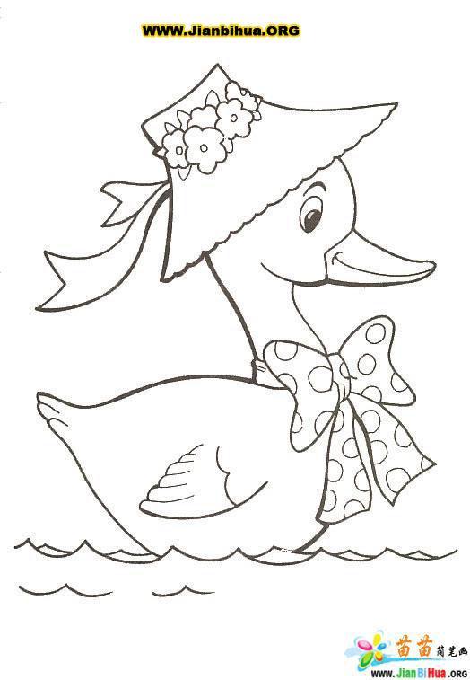 如何画鸭妈妈的一家的简笔画