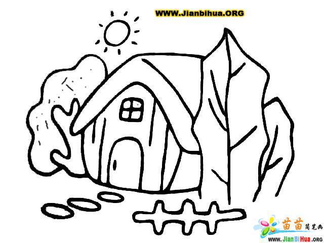 如何画小村庄简笔画5张图片教程(第8张)
