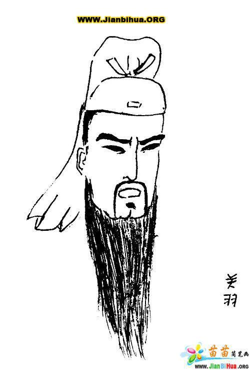人物简笔画三国演义主题――关羽2张