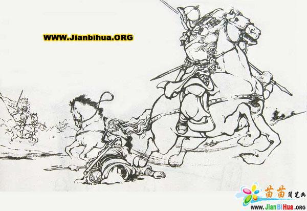 三国演义古代人物简笔画——战斗场面(2张)