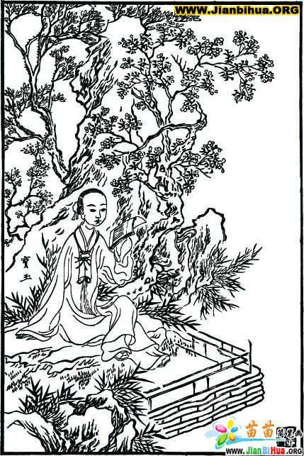 古版画红楼梦图片——贾宝玉人物篇