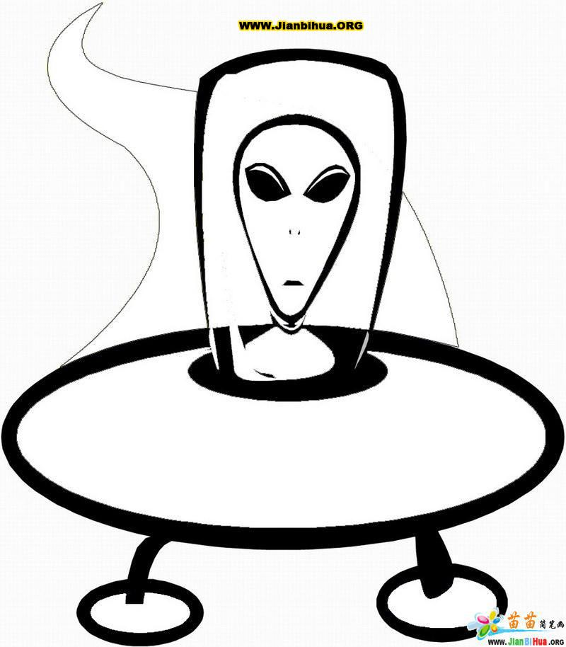 外星人飞船简笔画 ,太星 两张.  外星人早已到过地球?