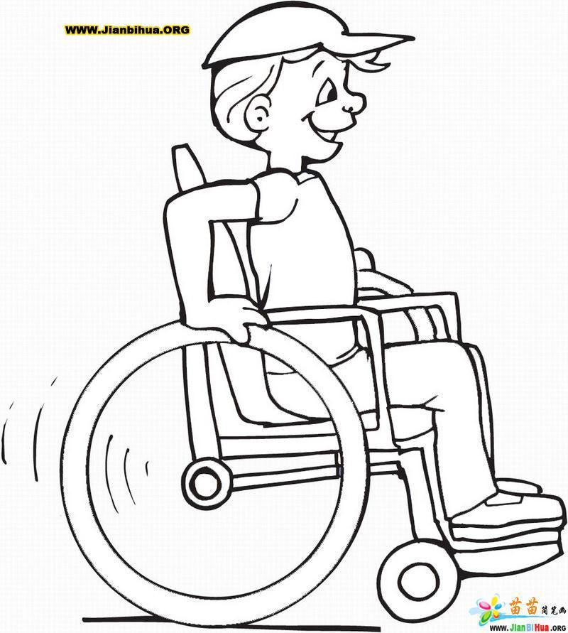 轮椅上的病人简笔画图片