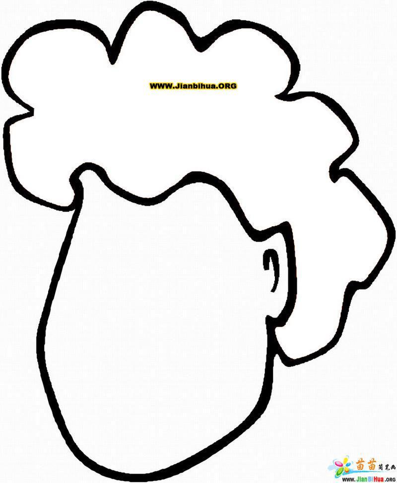 人体五官简笔画图片——头发10张 (800x973)