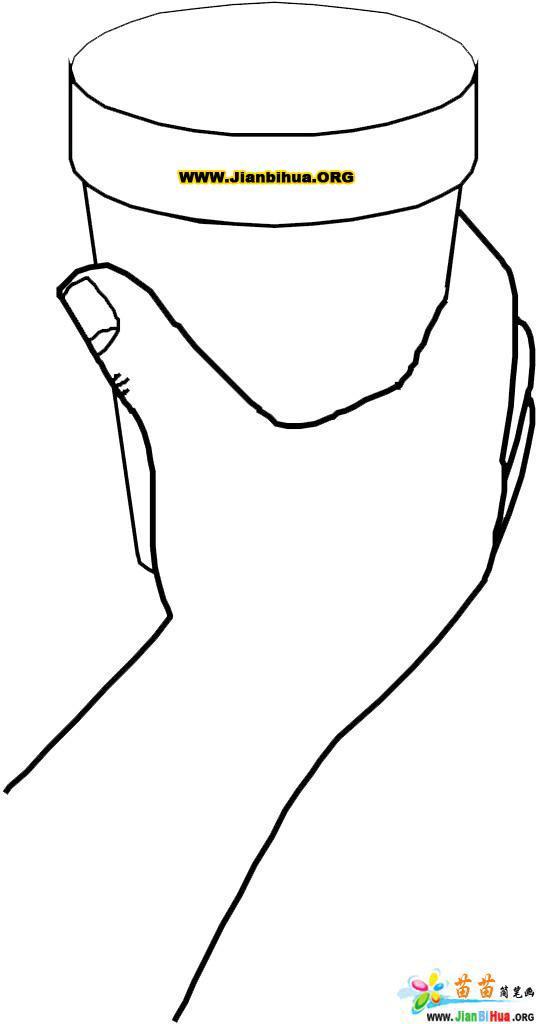 手姿手挚之手拿茶杯的简笔画