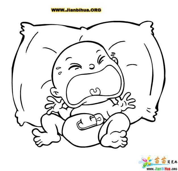 婴儿大哭的简笔画图片