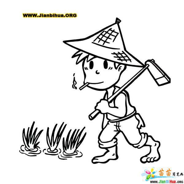 农夫简笔画_漫画人物简笔画女生内容图片展示_漫画人物简笔画
