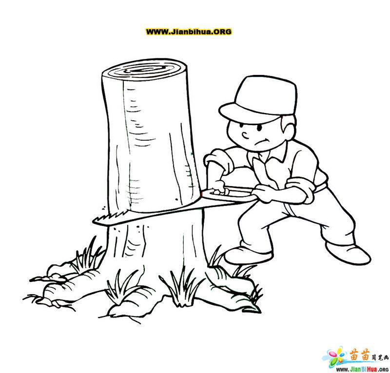 伐木工人锯树的简笔画图片第8张