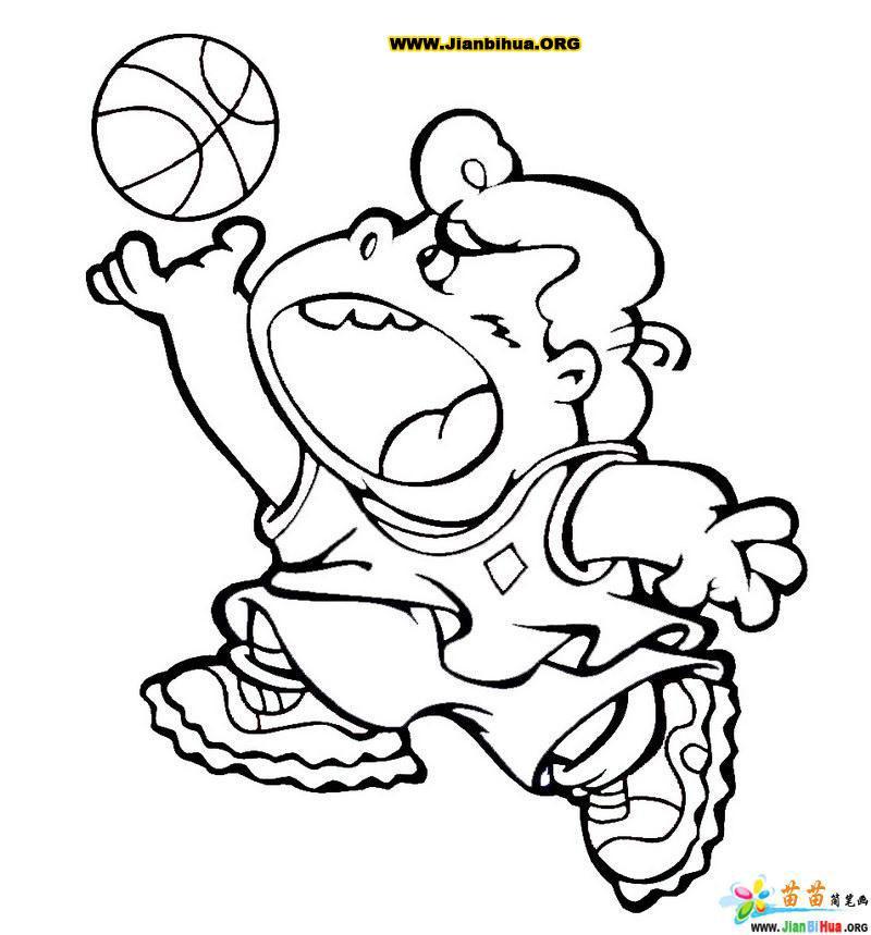 人物简笔画 儿童人物简笔画小男孩打篮球 小男孩简笔画 百人简笔画 儿童 图片