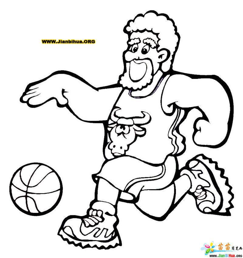 玩篮球的卡通人物简笔画图片(4张)