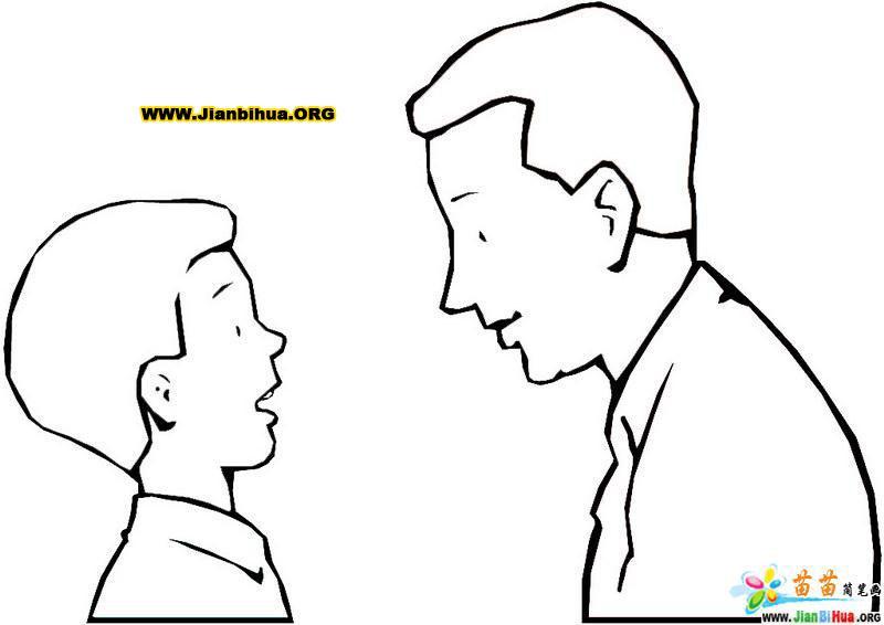 爸爸和儿子的简笔画图片作品