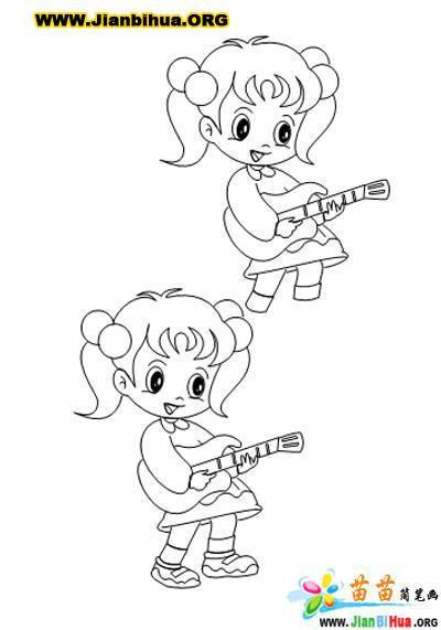 信息中心 简笔画女孩儿玩游戏的画法   孩子们在玩游戏,一个男孩和两