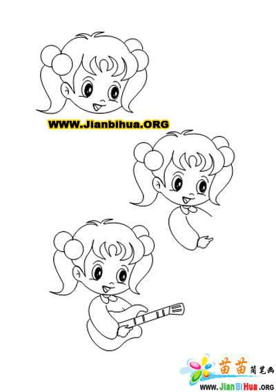 小学生小女孩简笔画5张画法