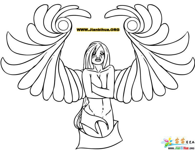 人物简笔画图片 天使女孩