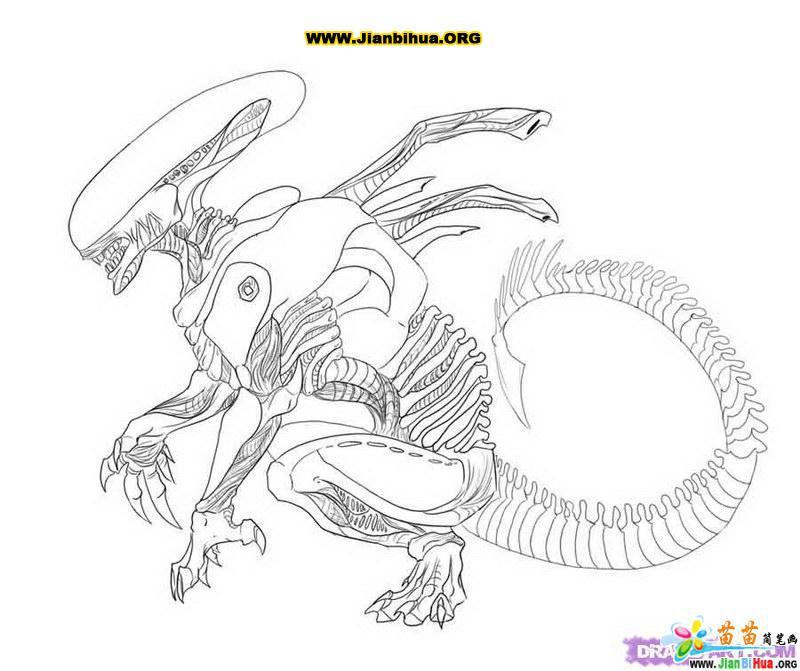 外星人科幻简笔画7张(第7张)