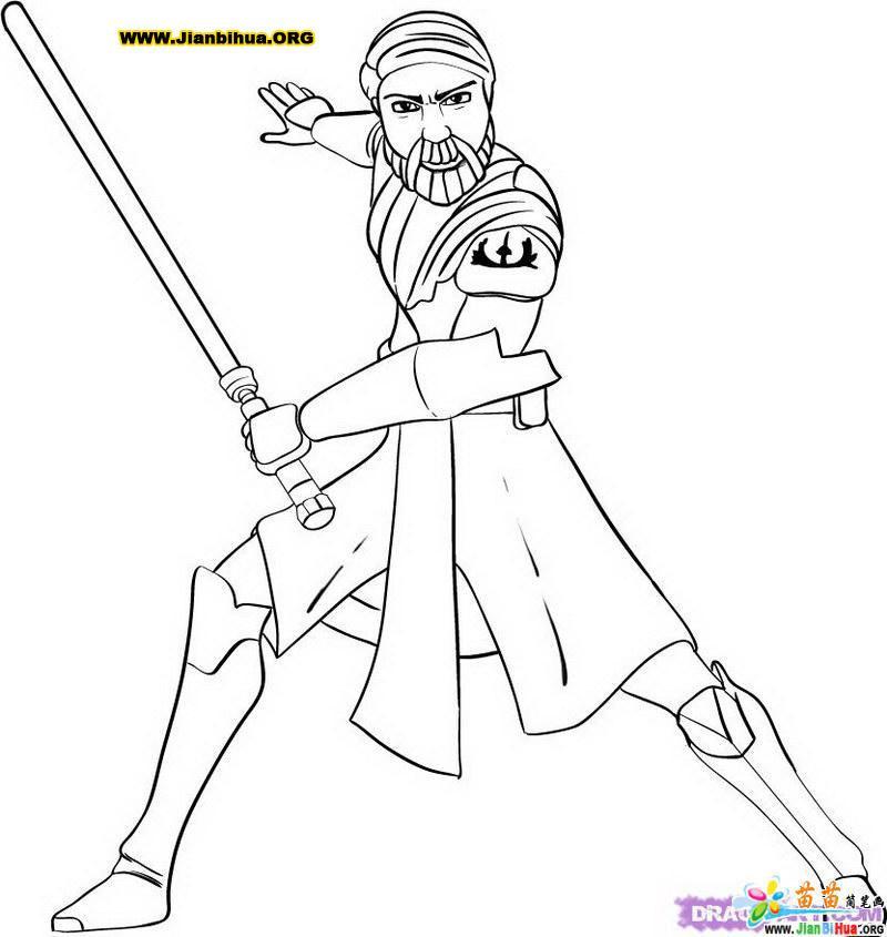 星球大战之武士简笔画2张