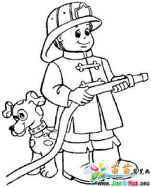 消防战士简笔画图片14张