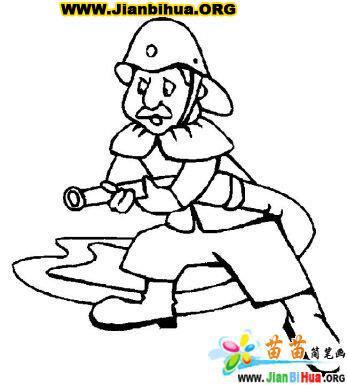 消防战士简笔画图片14张 第6张
