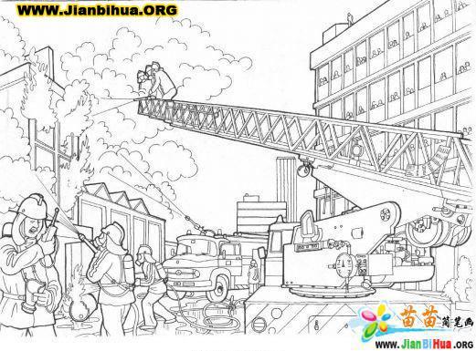 消防战士简笔画图片14张 第8张