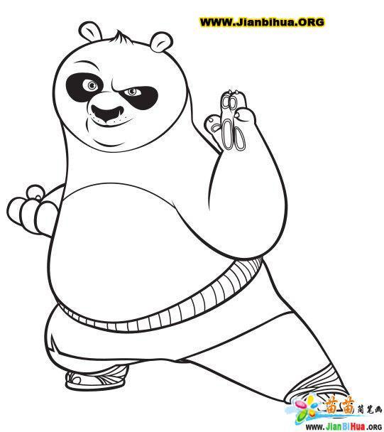功夫熊猫简笔画图片12张-卡通动物-美歪网www