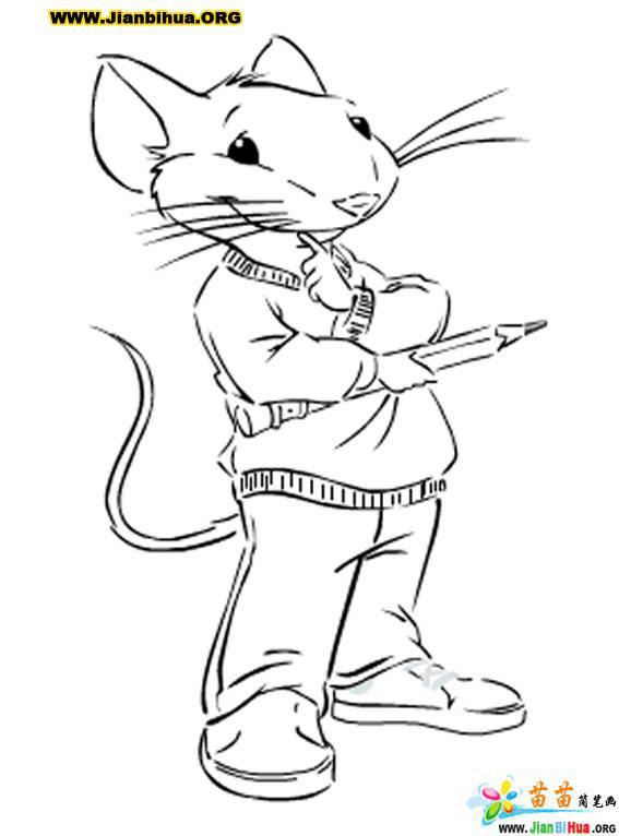 精灵鼠小弟卡通简笔画6张