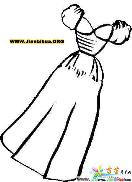 服装服饰简笔画图片——连衣裙4张