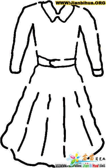 服装服饰简笔画图片——连衣裙4张(第4张)