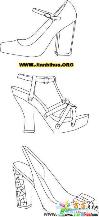 关于鞋子的简笔画图片