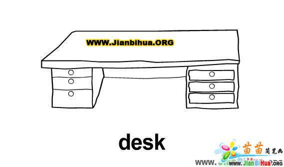 电脑桌简笔画 学生课桌子简笔画的画法