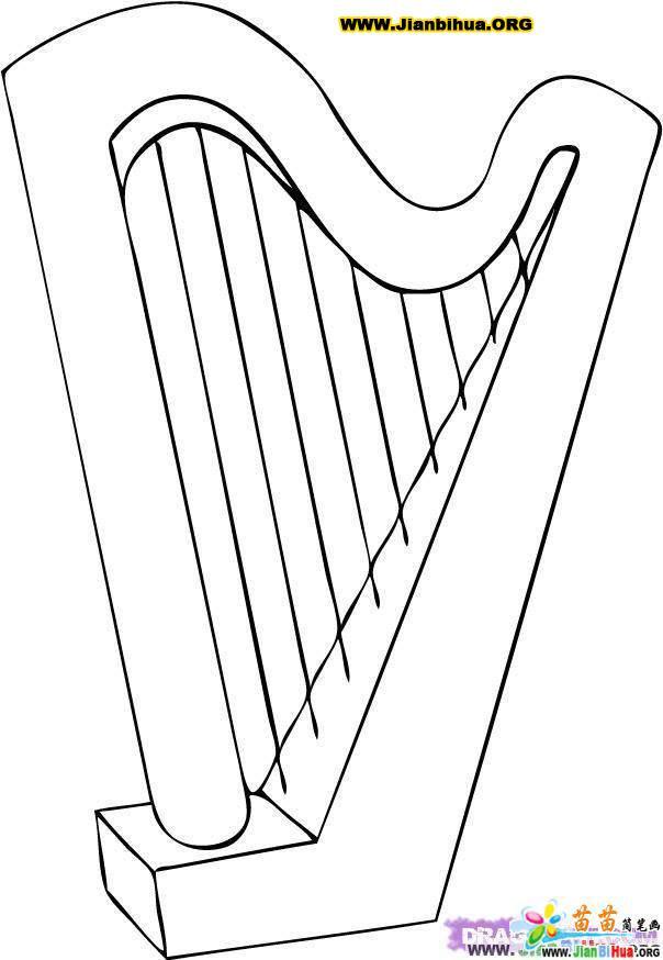 竖琴简笔画图片2张