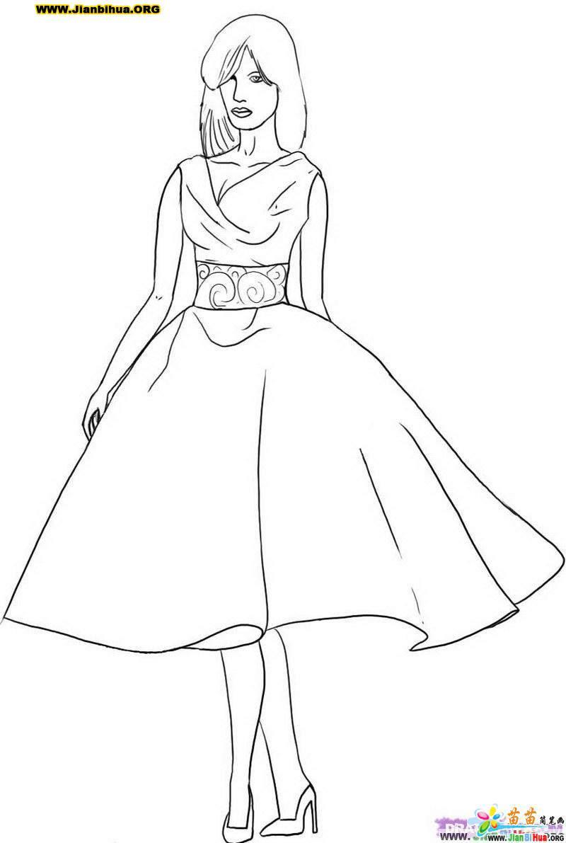 裙子简笔画3张(衣着篇)(第3张)图片