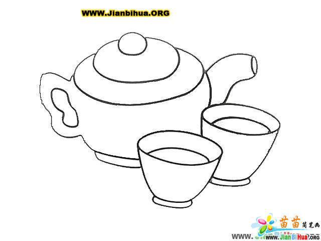 中国茶具简笔画图片