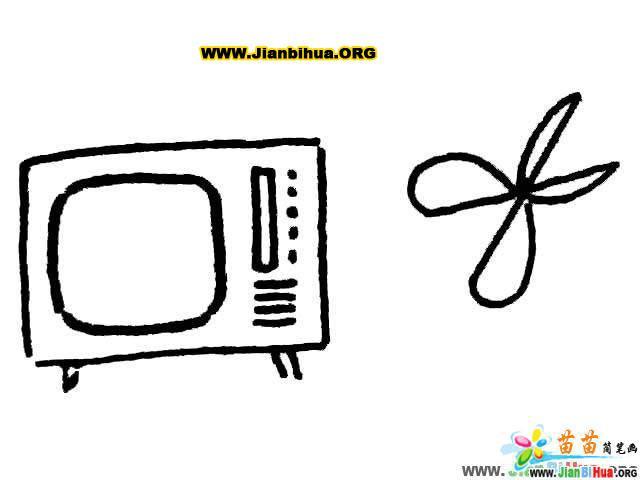 电视机和剪子工具简笔画图片