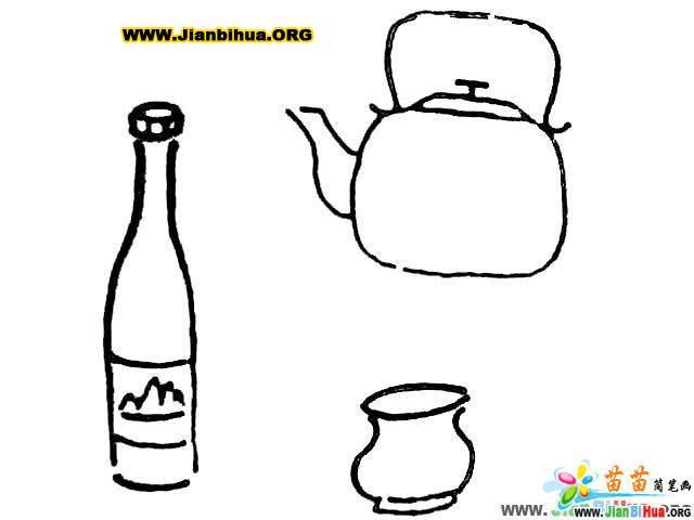 茶杯简笔画 茶壶简笔画 油壶简笔画 瓶子简笔画 钥匙简笔画