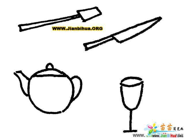 厨具勺子简笔画 铲子简笔画 茶壶简笔画 酒杯简笔画 刀简笔画 桶简笔画图片大全 第2张