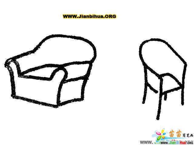 沙发简笔画 椅子简笔画 凳子简笔画 桌子简笔画 衣柜简笔画