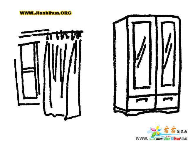 沙发简笔画 椅子简笔画 凳子简笔画 桌子简笔画 衣柜简笔画 第8张