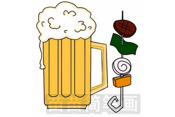 啤酒烤串简笔画