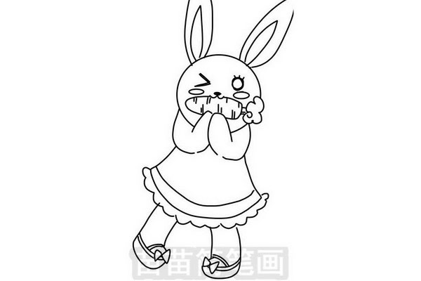 啃萝卜的兔子简笔画