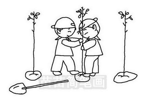 小朋友植树简笔画