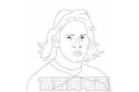 足球运动员梅西简笔画