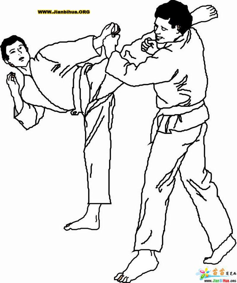 跆拳道体育简笔画图片