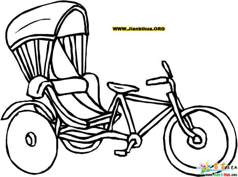 人力三轮车与农用三轮车简笔画图片