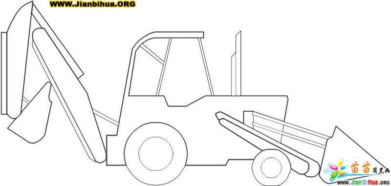 工程车简笔画图片 挖掘机9张