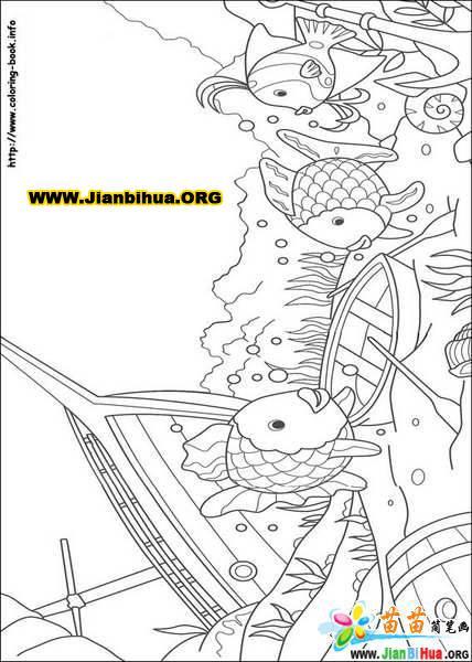迪斯尼之彩虹鱼简笔画13张 第3张