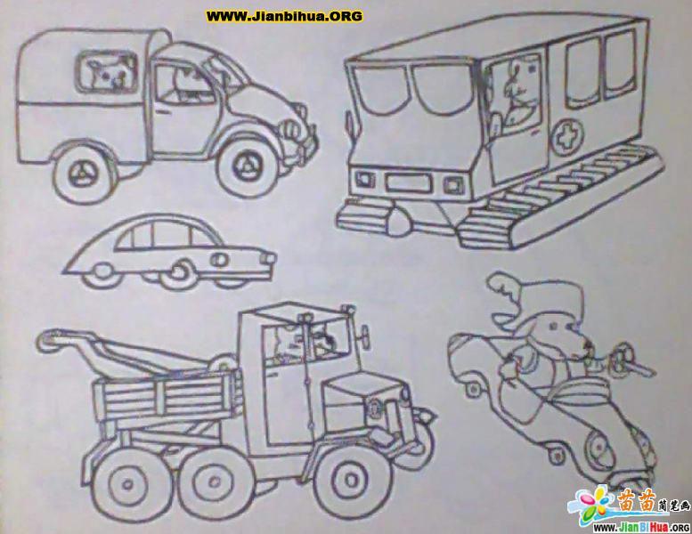 交通工具车简笔画 船简笔画 飞机简笔画 军事57张图片 第7张