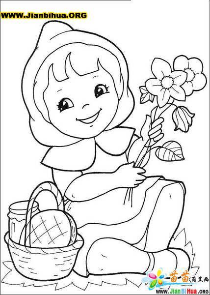 迪斯尼之小红帽人物简笔画9张(第4张)