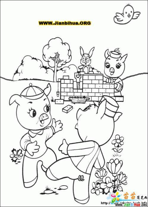 三只小猪上幼儿园的故事图片图片