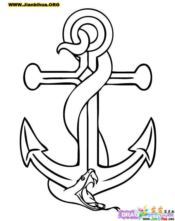 Anchor Tattoo Line Drawing :