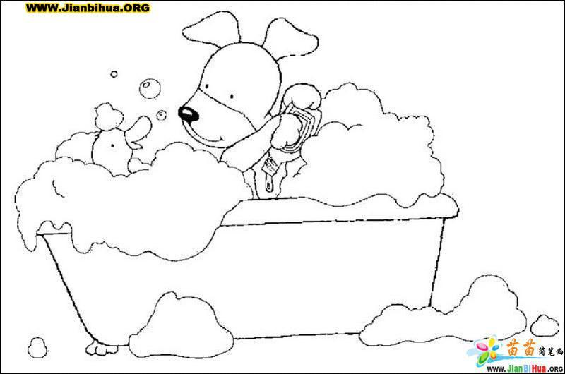 洗澡简笔画图片22张